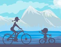 Biking della figlia e della madre illustrazione vettoriale