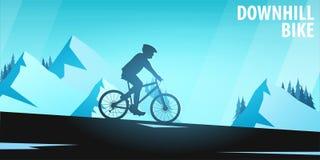 Biking della montagna Bici in discesa Insegna di sport, stile di vita attivo Illustrazione di vettore royalty illustrazione gratis