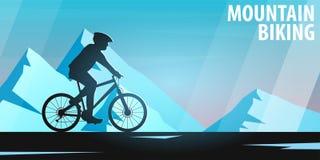 Biking della montagna Bici in discesa Insegna di sport, stile di vita attivo Illustrazione di vettore illustrazione di stock