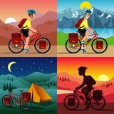 Biking della montagna dell'uomo illustrazione di stock