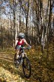 Biking della montagna della donna Fotografia Stock
