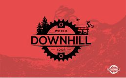 Biking della montagna In discesa, freeride, sport estremo Vettore Ilustr royalty illustrazione gratis