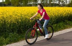 Biking della ragazza Immagini Stock