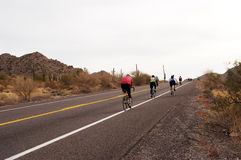 Biking in the desert. Royalty Free Stock Images