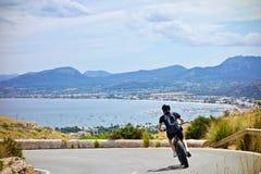 Biking e-bike in Mallorca stock image