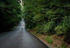 Biking en Rumania, a través de los bosques Foto de archivo libre de regalías