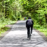 Biking in forest. Biking in spring forest at asphalt road. Gaderska valley in Slovakia royalty free stock photography