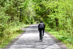 Biking in forest. Biking in spring forest at asphalt road. Gaderska valley in Slovakia stock photo
