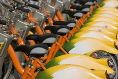 Biking - Green Transport. A row of public bicycles. These bikes are part of the public transport system in Taipei, Taiwan royalty free stock photography