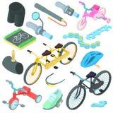 Biking icons set, cartoon style. Cartoon biking icons set. Universal biking icons to use for web and mobile UI, set of basic biking elements isolated vector stock illustration