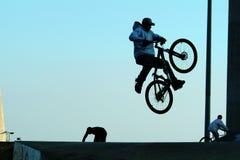 Biking jump. Jump with bicycle Stock Image
