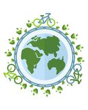 Biking keep the air clean on the planet. Сonceptual image of a green energy and pollute.Ecology icons. Ecology icons set. Ecology icons flat. Ecology icons Royalty Free Stock Photography