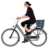Biking lady Royalty Free Stock Image
