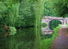 Biking on the Leeds to liverpool canal. stock image