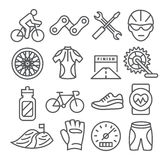 Biking Line Icons Stock Photography