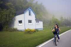 Biking Mackinac Island, Michigan, USA. Stock Photography
