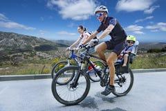 Biking on a mountain road Royalty Free Stock Photo