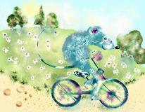 Biking. Mouse riding a bicycle. Summer, nice weather Stock Photo