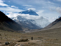Biking from Mt. Everest Stock Photography