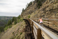 Biking on Myra Canyon Royalty Free Stock Photo