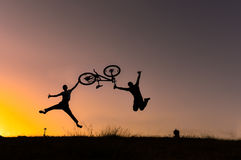 Biking and nature passion & jump with bike. Biking and nature passion.jump with bike.Bike riding silhouette Royalty Free Stock Photo