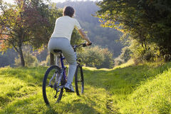 Biking outdoors Stock Photo