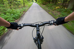 Biking on the road in forest. Point of view from biker eyes during riding in the forest stock images