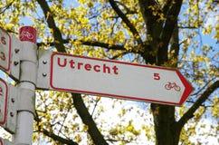 Biking road sign, the Netherlands. Biking road sign in Utrecht, the Netherlands Stock Images