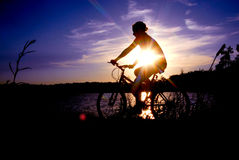 Biking silhouette. A woman rides a bicycle through a park at sunset Stock Photos