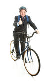Biking to Work - Thumbs Up. Businessman bicycling to work and giving a thumbs up for energy efficiency.  Full Body  on white Stock Photography