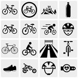 Biking vector icons set on gray. Stock Photo