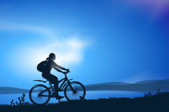Biking. Vector illustration. Authors illustration in Royalty Free Stock Images
