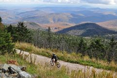 Biking a Vermont Mountain in the Fall royalty free stock photo