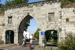 Biking at the Waerachtig Gate in the city Maastricht Stock Photos