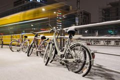 Biking in winter in Europe Stock Image
