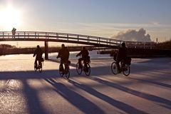 Biking in winter in the Netherlands Stock Photo