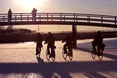 Biking in winter in the Netherlands Royalty Free Stock Photo
