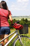Biking woman relaxing Royalty Free Stock Photography
