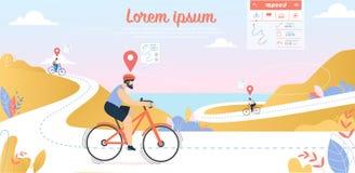 Bikingsconcurrentie, Sportmannen die Fietsen drijven stock illustratie