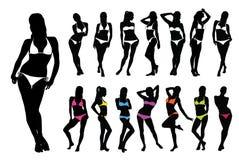 bikini ανασκόπησης μαύρη απομονωμένη εικόνα λευκή γυναίκα σκιαγραφιών ράστερ Στοκ Φωτογραφίες