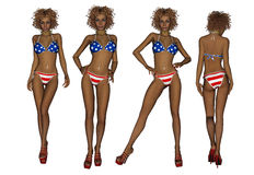 Bikini αφροαμερικάνων γυναίκα Στοκ Εικόνες