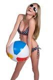 bikini κορίτσι εύθυμο Στοκ Εικόνα