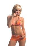 bikini ξανθό πορτοκάλι Στοκ εικόνα με δικαίωμα ελεύθερης χρήσης