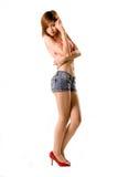 bikini τζιν κοριτσιών προκλητι& Στοκ Εικόνες