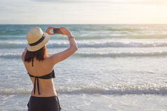 Bikini asia woman taking photo Royalty Free Stock Photography