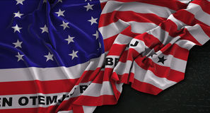 Bikini Atoll Flag Wrinkled On Dark Background 3D Render Royalty Free Stock Photo