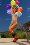 Bikini Balloon girl Royalty Free Stock Images
