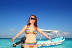Bikini beach tourist sunglasses tropical sea Stock Photos