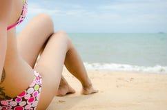 Bikini. Beautiful lady wear bikini laying on the beach Royalty Free Stock Photo