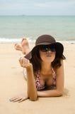 Bikini. Beautiful lady wearing bikini on the beach Royalty Free Stock Image
